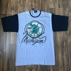 State of Michigan T Shirt Vintage Large Boats